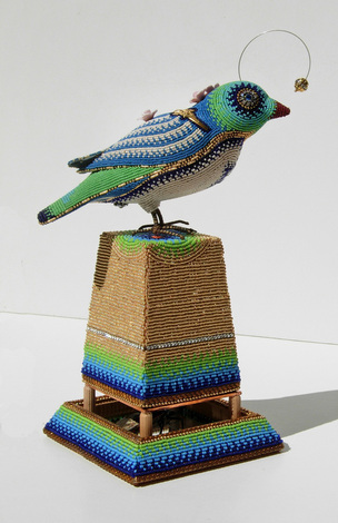 Bird & Bug, beaded artwork by Jan Huling